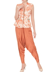 off-white-orange-printed-peplum-top-dhoti-pants