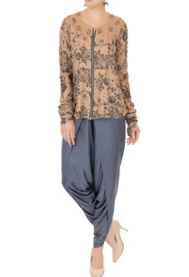 grey-blue-zipper-detail-blouse-with-dhoti-pants