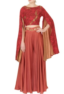red-mesh-printed-flared-sleeve-top-with-embroidered-sharara-pants