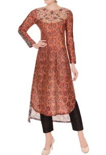 brown-sanganeri-printed-chanderi-silk-kurta