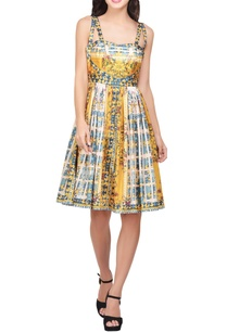 yellow-green-japanese-floral-printed-double-strap-dress