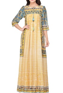 yellow-green-japanese-floral-printed-maxi-dress