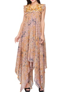yellow-peach-high-low-maxi-dress