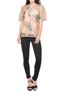 peach-green-printed-patchwork-blouse-with-net-panels