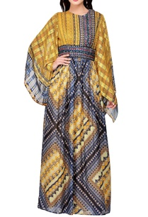 yellow-blue-floral-printed-maxi-dress