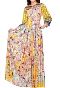 multicolored-floral-printed-satin-maxi-dress
