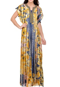 yellow-blue-floral-printed-satin-maxi-dress