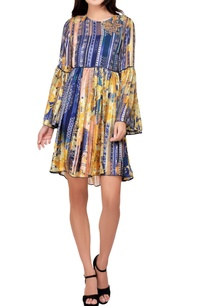 yellow-blue-printed-short-dress