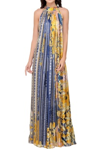 yellow-blue-halter-maxi-dress