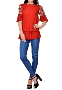 red-crepe-embroidered-blouse