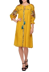 yellow-embroidered-tunic-dress