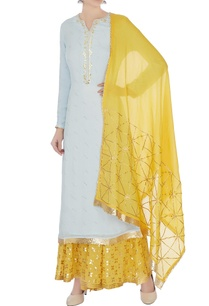 sky-blue-yellow-gota-work-kurta-with-skirt-and-dupatta