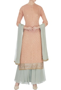 peach-grey-chinon-mukaish-work-kurta-with-sharara-and-dupatta