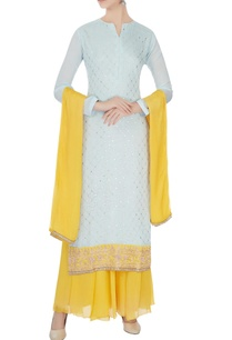ice-blue-yellow-chinon-mukaish-work-kurta-with-skirt-and-dupatta