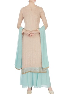 peach-ice-blue-chinon-mukaish-work-kurta-with-skirt-and-dupatta
