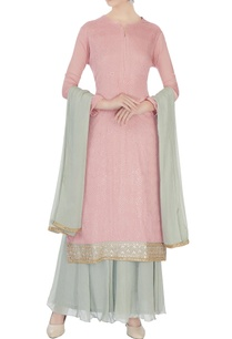pink-pale-grey-chinon-mukaish-work-kurta-with-skirt-and-dupatta