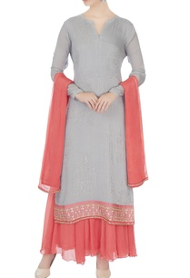 coral-grey-chinon-mukaish-work-kurta-with-skirt-and-dupatta