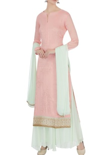 pink-light-blue-chinon-mukaish-work-kurta-with-skirt-and-dupatta