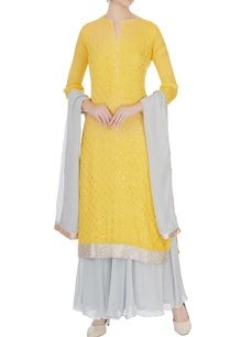 yellow-pale-blue-chinon-mukaish-work-kurta-with-skirt-dupatta
