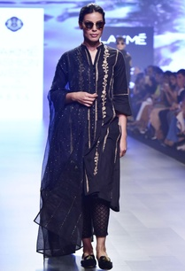 black-chikankari-embroidered-kalidar-kurta-set