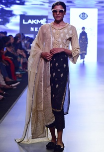 black-beige-chikankari-embroidered-kurta-set