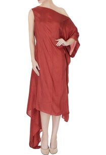 dull-red-dupion-silk-pleated-one-shoulder-dress