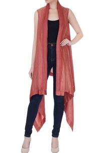 dull-red-satin-linen-square-draped-jacket