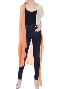 orange-grey-crepe-georgette-satin-linen-color-block-jacket