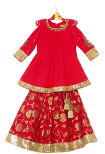 red-brocade-cotton-lehenga-with-cold-shoulder-anarkali