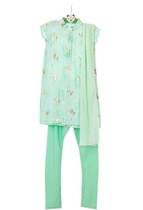 mint-green-gajji-silk-kurta-set