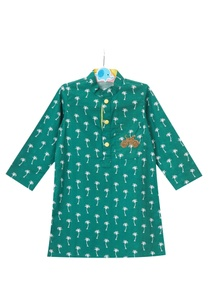 green-palm-tree-motif-printed-cotton-kurta