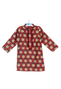 maroon-buddha-printed-kurta-with-buddha-embossed-buttons