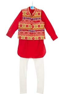 red-embroidered-jacket-with-kurta-churidar