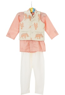 peach-shirt-style-kurta-with-off-white-churidar