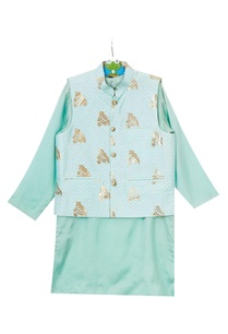 mint-green-foil-owl-print-jacket-set