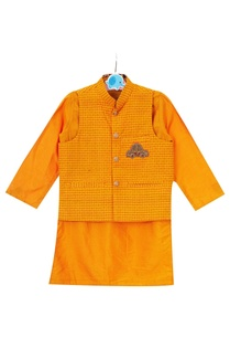 sunrise-orange-hand-embroidered-car-motif-jacket-with-kurta