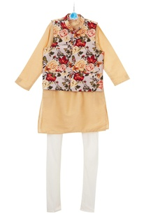 multicolored-floral-printed-jacket-with-beige-kurta-churidar
