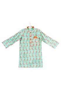 blue-tussar-silk-umbrella-printed-kurta-with-orange-pocket-square
