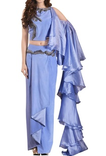 cornflower-blue-crepe-silk-organza-skirt-set