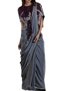 grey-crepe-silk-sari-with-purple-cape-blouse