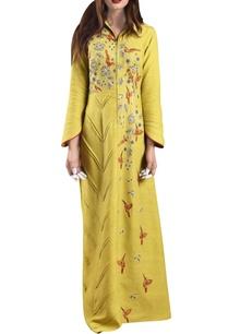 yellow-hand-woven-khadi-machine-embroidered-maxi-dress