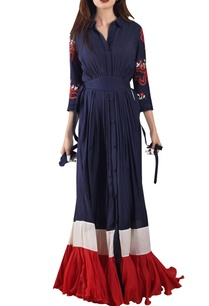 midnight-blue-red-maxi-dress-with-pleated-hemline