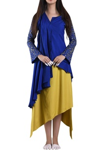 blue-pleated-layer-shirt-with-asymmetric-dress