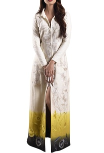 white-yellow-ombre-hand-woven-khadi-dress