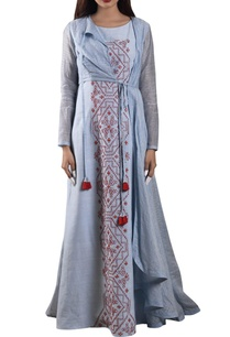 blue-hand-woven-maxi-dress-with-zari-jacket