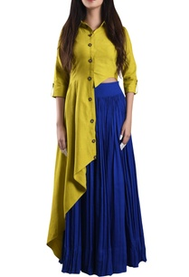 banana-yellow-hand-woven-asymmetric-shirt-with-blue-skirt