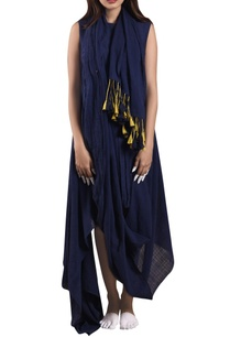 midnight-blue-hand-woven-dress-with-scarf