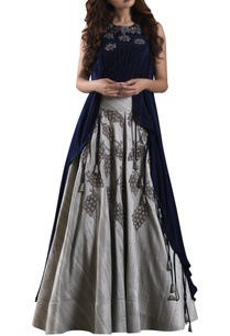 blue-high-low-blouse-with-raw-silk-grey-lehenga
