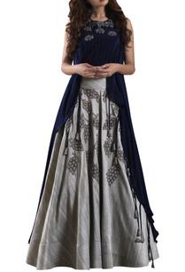 blue-high-low-blouse-with-raw-silk-grey-lehenga