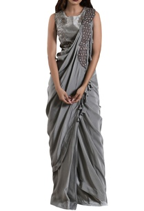 stone-blue-crepe-silk-draped-sari-with-raw-silk-blouse